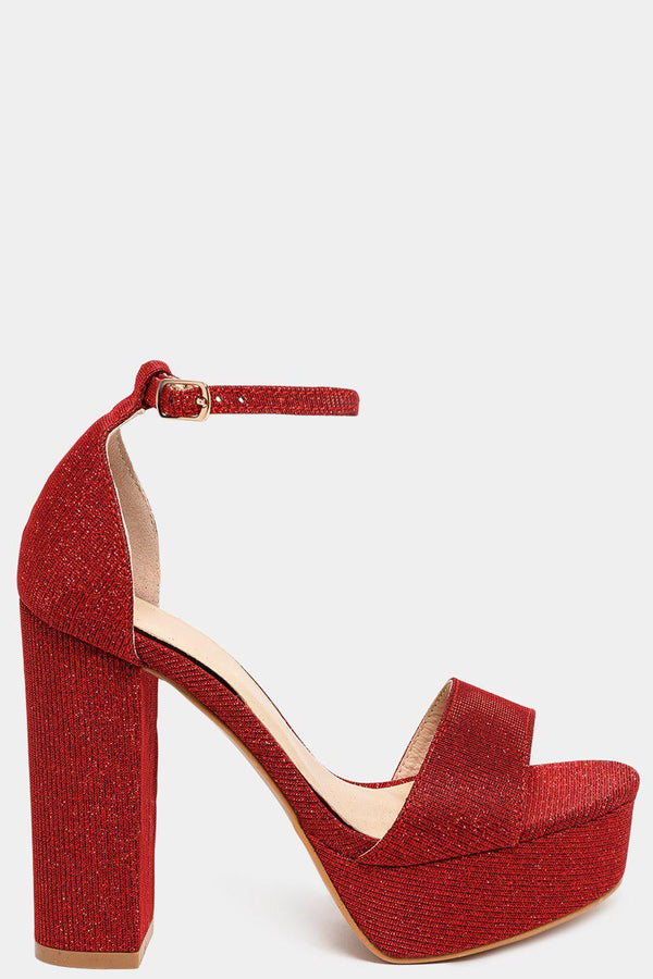 Glitter Red Block Heel Sandals - SinglePrice