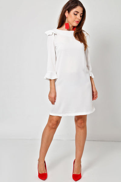 Shoulder Frill White Shift Dress-SinglePrice