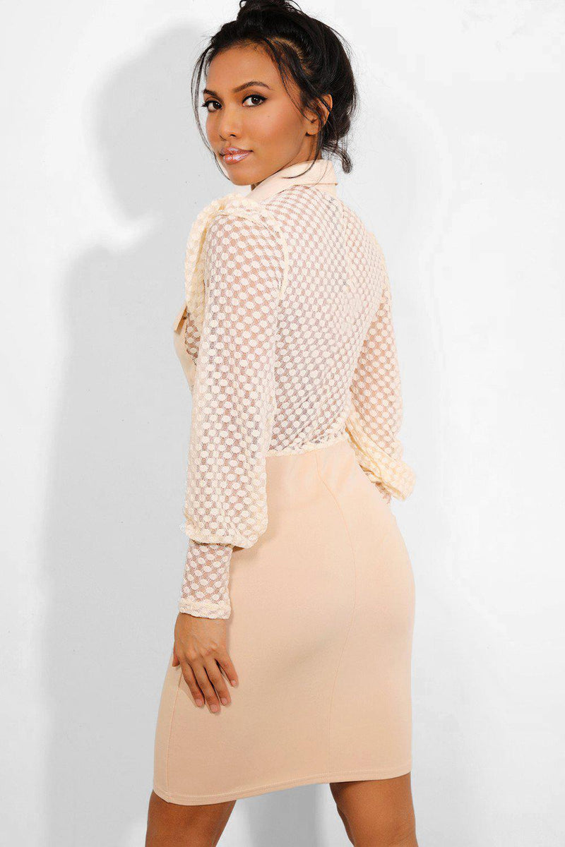 Beige Mesh Top V Detail Belt Dress-SinglePrice