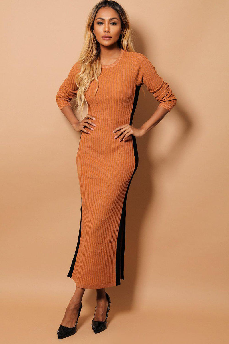 Brown Ribbed Knit Contrast Side Splits Midi Dress - SinglePrice
