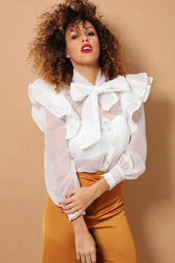 White Ruffled Shoulders Pussy Bow Chiffon Shirt - SinglePrice