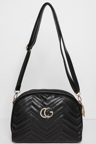 Chevron Quilt Double Zip Top Black Handbag-SinglePrice