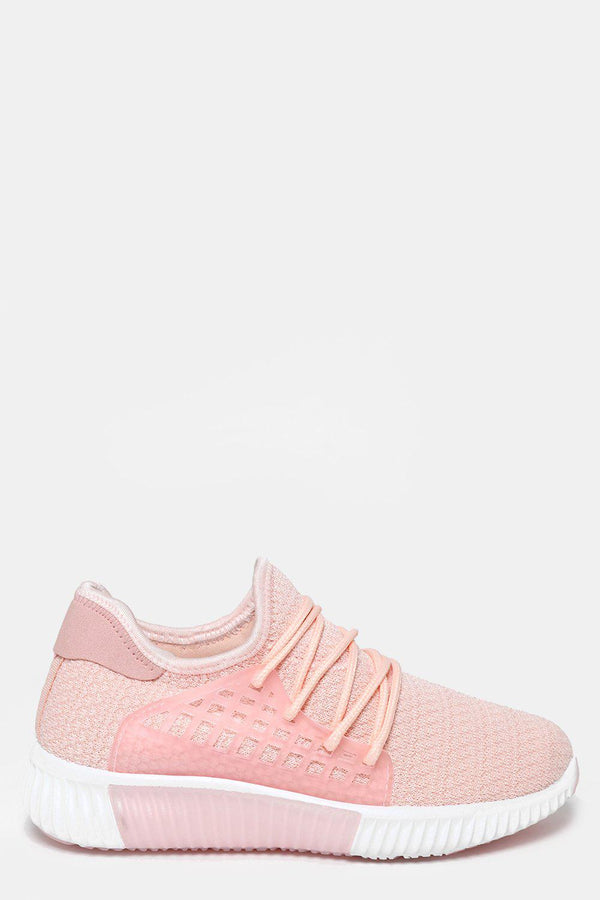 Ribbed Sole Knitted Pink Trainers-SinglePrice