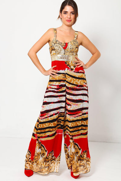Baroque Red Tiger Print Maxi Jumpsuit-SinglePrice