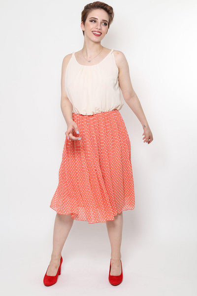 Pleated Polkadot Skirt Midi Dress-SinglePrice