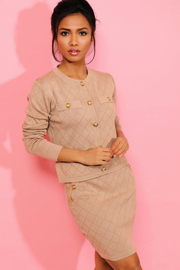 Camel Military Button Details Knitted Quilt Skirt And Cardigan Set - SinglePrice