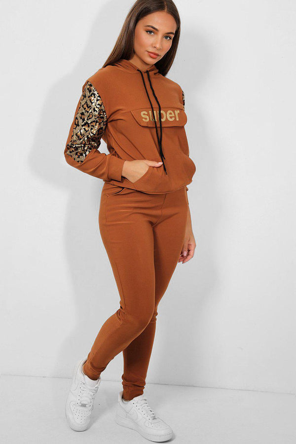 Brown Super Slogan Sequin Panels 2 Piece Tracksuit - SinglePrice