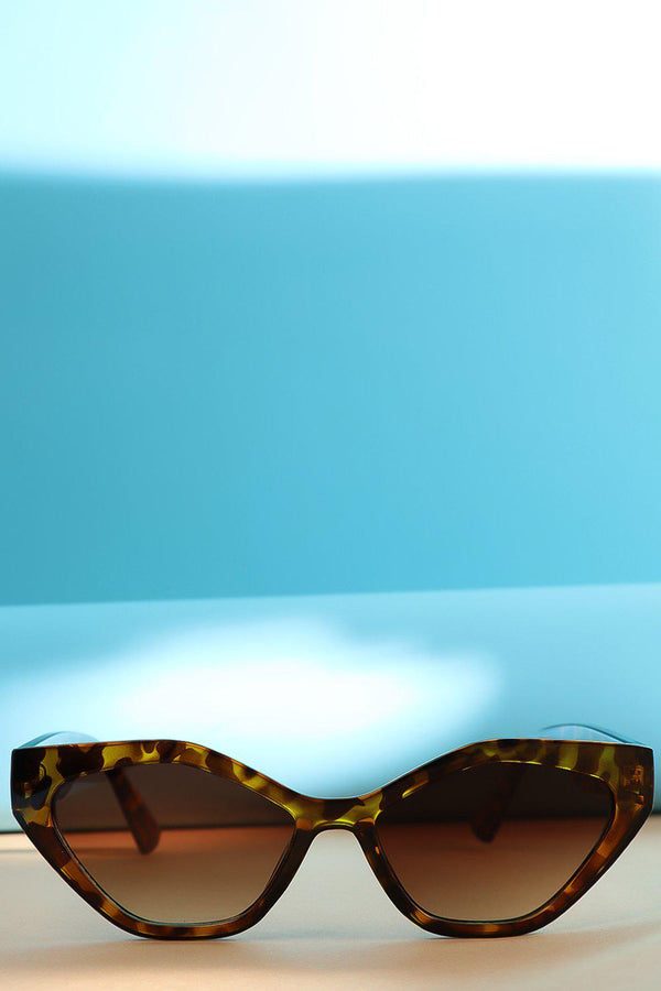 Brown Leopard Squared Off Cat Eye Sunglasses-SinglePrice