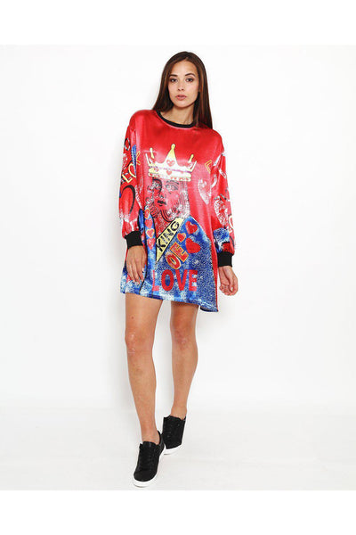 Cards King Print Red Satin Shift Dress-SinglePrice