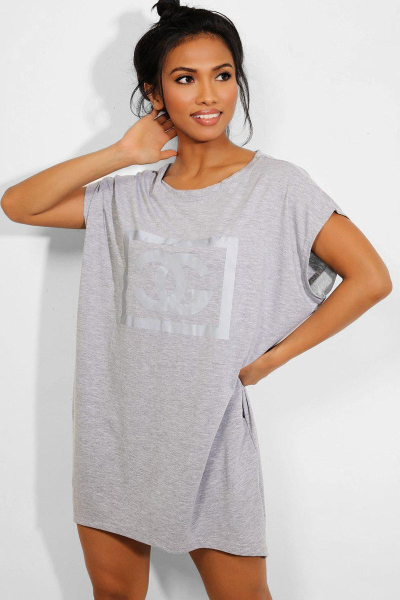 Grey Reflective Logo Pocketed T-shirt Dress-SinglePrice