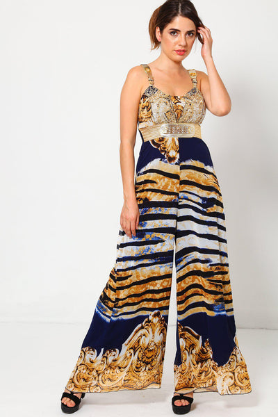 Baroque Navy Tiger Print Maxi Jumpsuit-SinglePrice