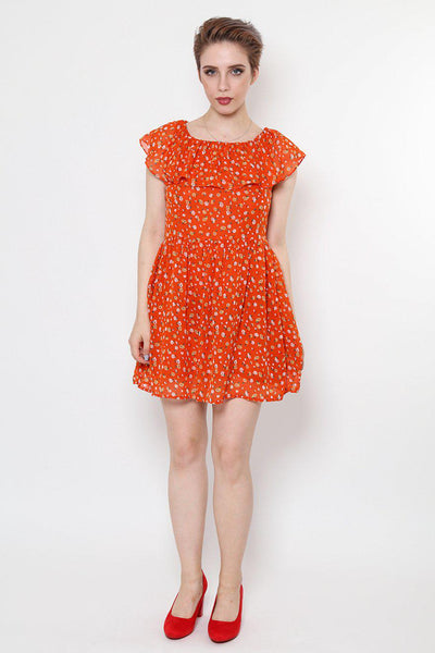 Ruffle Neckline Orange Dress-SinglePrice