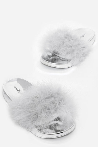 Grey Feathers Mirror Sliders-SinglePrice