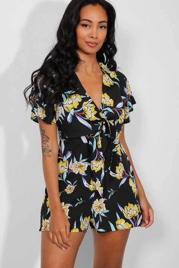 Black Yellow Floral Print Tie Up Front Playsuit