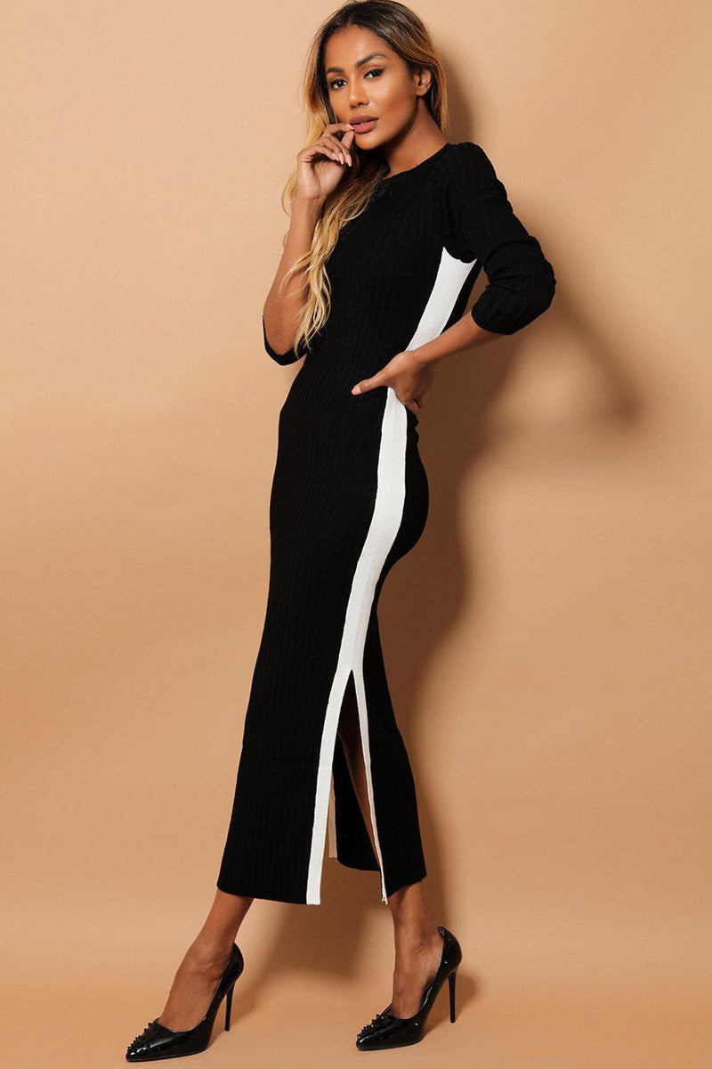 Black Ribbed Knit Contrast Side Splits Midi Dress - SinglePrice