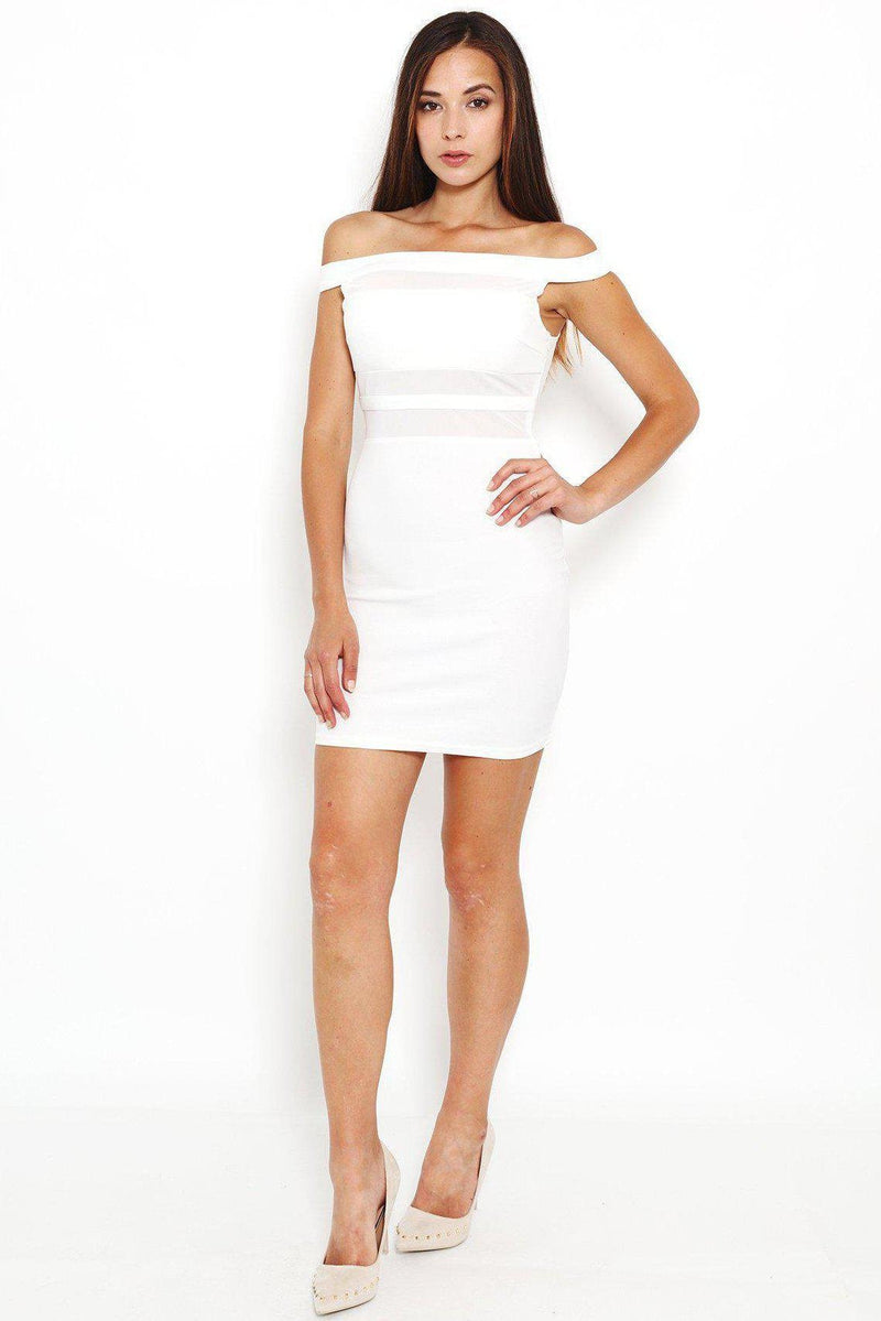 White Sheer Panel Off Shoulder Dress-SinglePrice