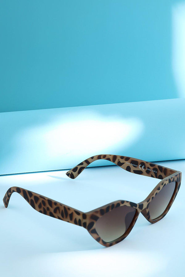 Beige Leopard Squared Off Cat Eye Sunglasses-SinglePrice