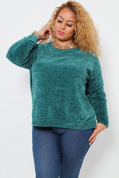 Side Splits Slouchy Velvet Knit Teal Jumper-SinglePrice
