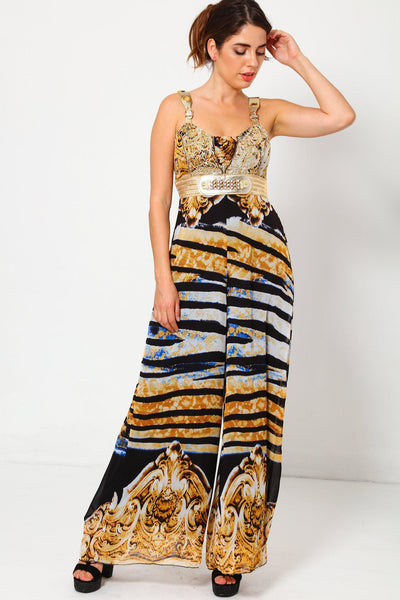 Baroque Black Tiger Print Maxi Jumpsuit-SinglePrice