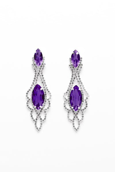 Double Marquise Crystal Purple And Silver Drop Earrings-SinglePrice