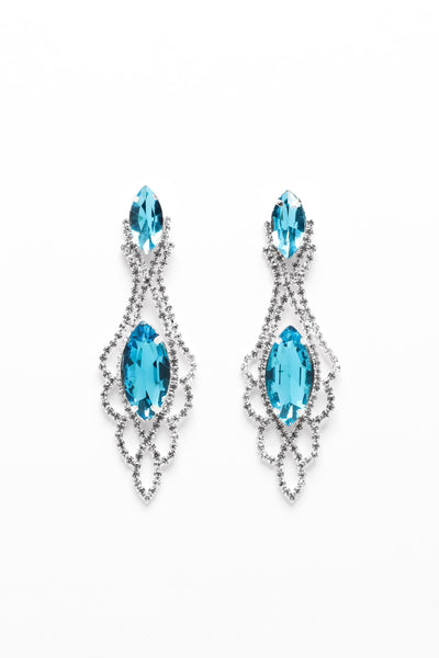 Double Marquise Crystal Blue And Silver Drop Earrings-SinglePrice