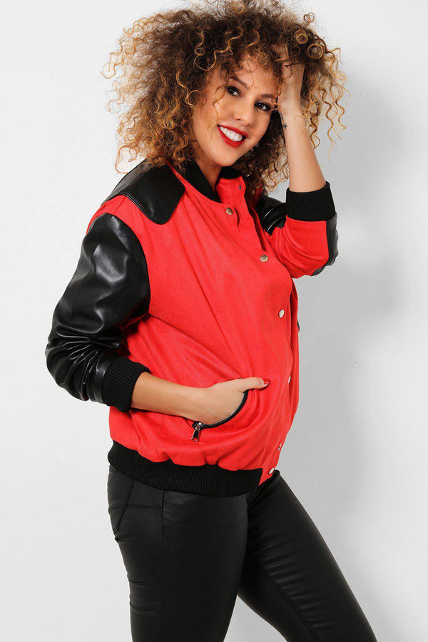 Red Oversized Varsity Boyfriend Jacket - SinglePrice
