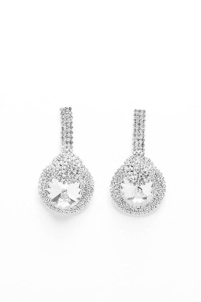 Large Clear Crystals Round Teardrop Earrings-SinglePrice