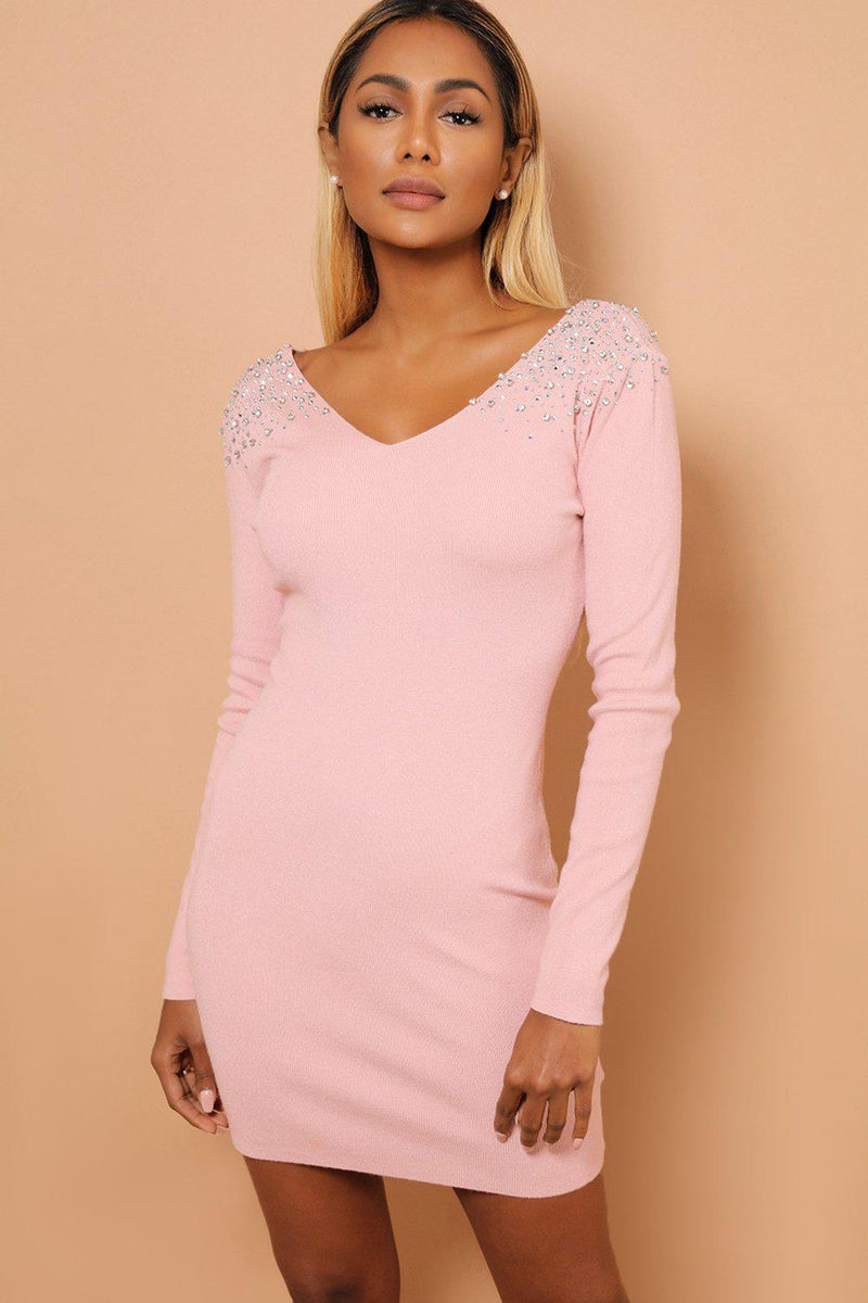 Crystal Studs Embellished Shoulders V Neck Pink Knitted Dress - SinglePrice