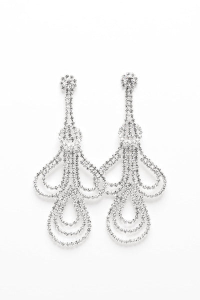 Triple Teardrop Crystal Chain Earrings-SinglePrice