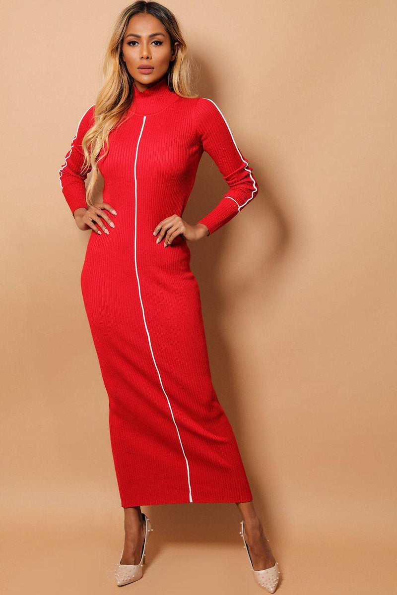 Red Rib Knit White Stripe Maxi Bodycon Dress - SinglePrice