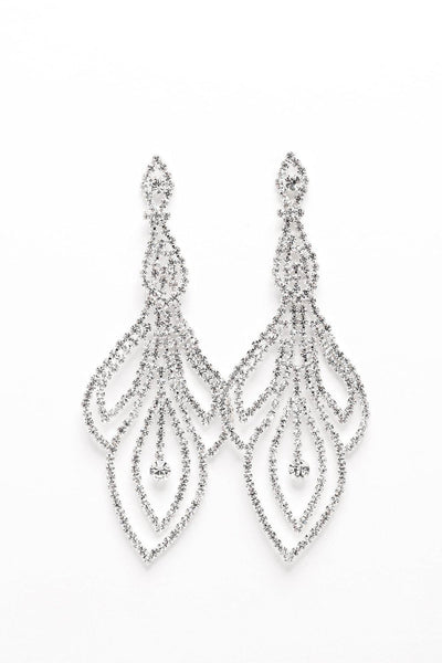Triple Leaf Crystal Chain Earrings-SinglePrice