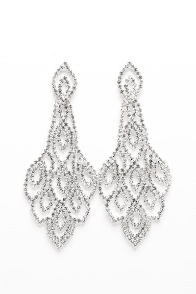 Multi Leaves Crystal Chain Drop Earrings-SinglePrice