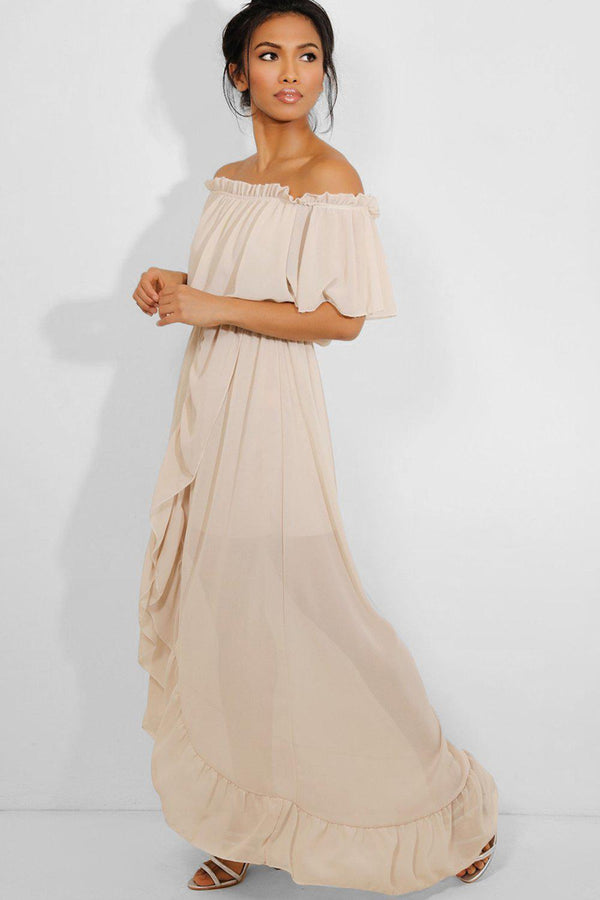 Beige Frill Trims Off Shoulder Chiffon Maxi Dress - SinglePrice