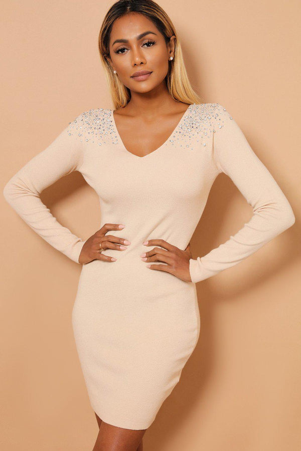 Crystal Studs Embellished Shoulders V Neck Beige Knitted Dress
