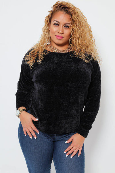 Side Splits Slouchy Velvet Knit Black Jumper-SinglePrice