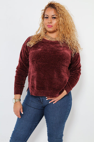 Side Splits Slouchy Velvet Knit Burgundy Jumper-SinglePrice