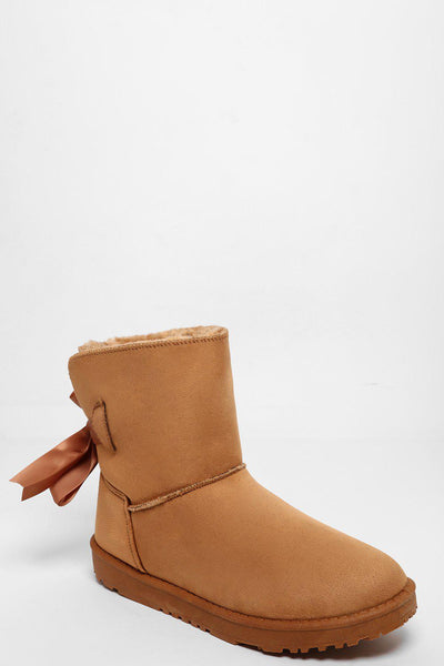 Satin Ties Camel Warm Boots-SinglePrice