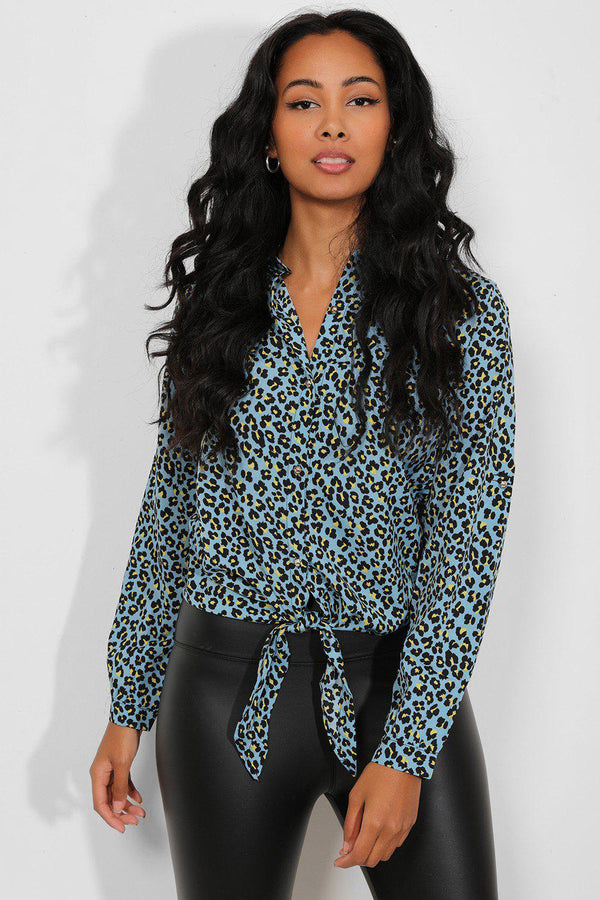 Blue Yellow Leopard Print Tie Up Shirt-SinglePrice