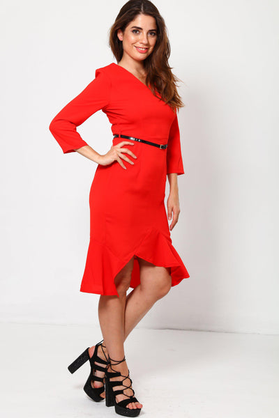 Red Frill Hem Dress-SinglePrice