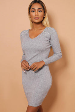 Crystal Studs Embellished Shoulders V Neck Grey Knitted Dress - SinglePrice