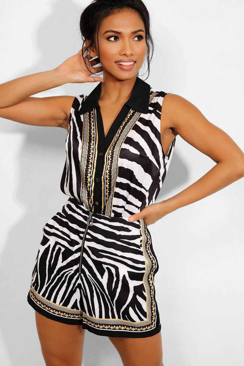 Black And White Zebra Print Satin Touch Top And Shorts Set-SinglePrice