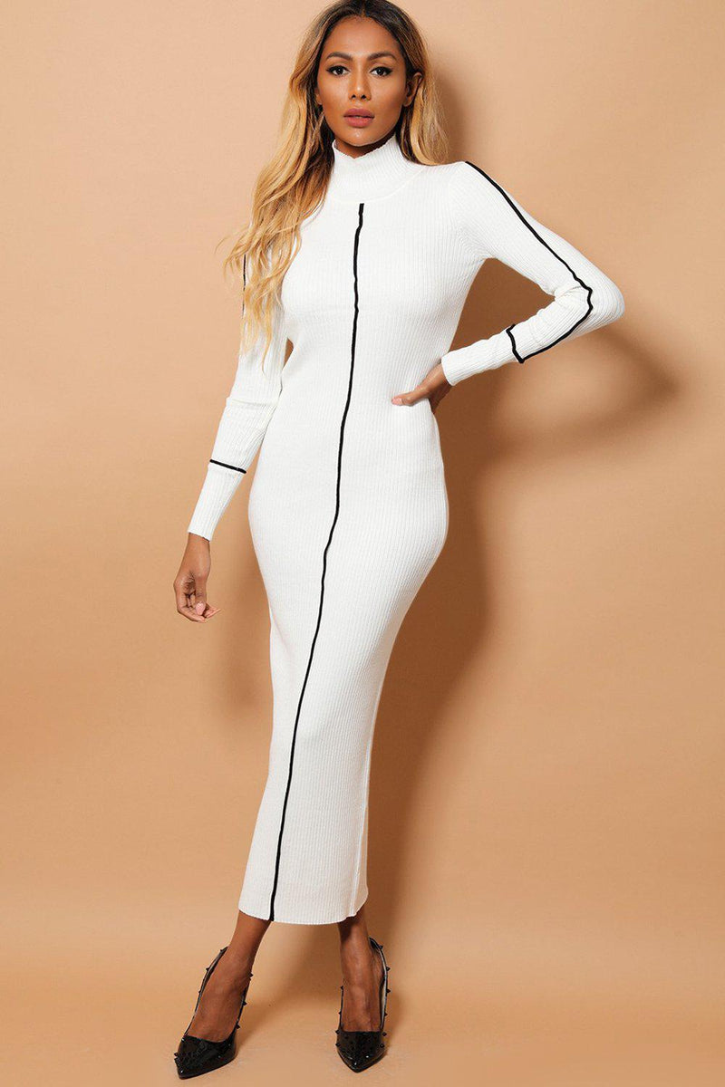White Rib Knit Black Stripe Maxi Bodycon Dress - SinglePrice