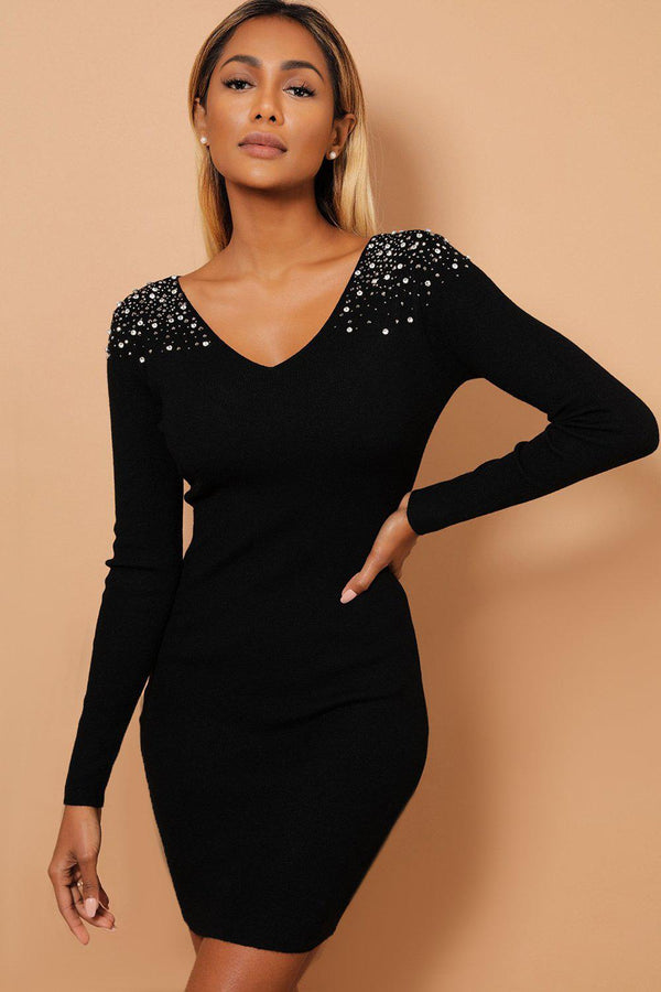 Crystal Studs Embellished Shoulders V Neck Black Knitted Dress