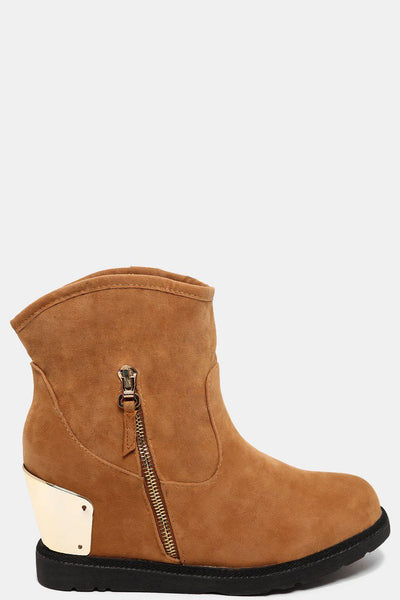Curved Top Hidden Wedge Camel Boots-SinglePrice