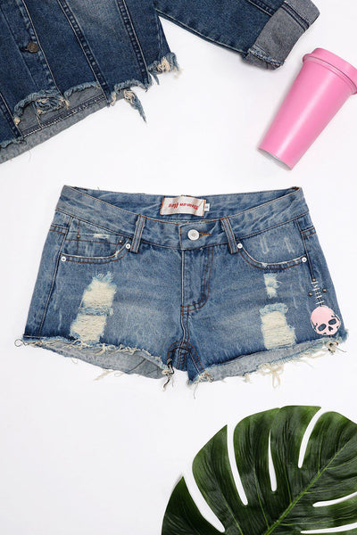 Distressed Finish Denim Shorts-SinglePrice