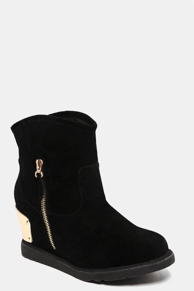 Curved Top Hidden Wedge Black Boots-SinglePrice