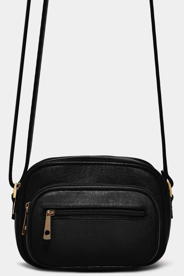 Black Vegan Leather Multi-Pocket Mini Crossbody Bag - SinglePrice