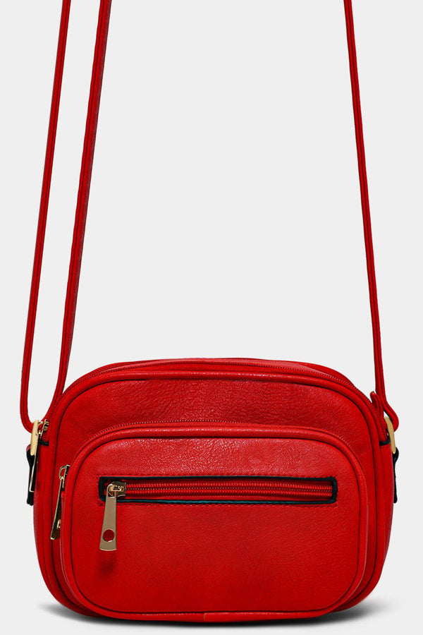 Red Vegan Leather Multi-Pocket Mini Crossbody Bag - SinglePrice