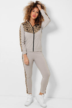 Leopard Print Panels Grey Two Piece Tracksuit - SinglePrice