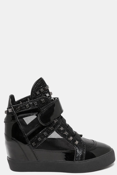 Sheer Mesh Panel Studded Black Trainers-SinglePrice